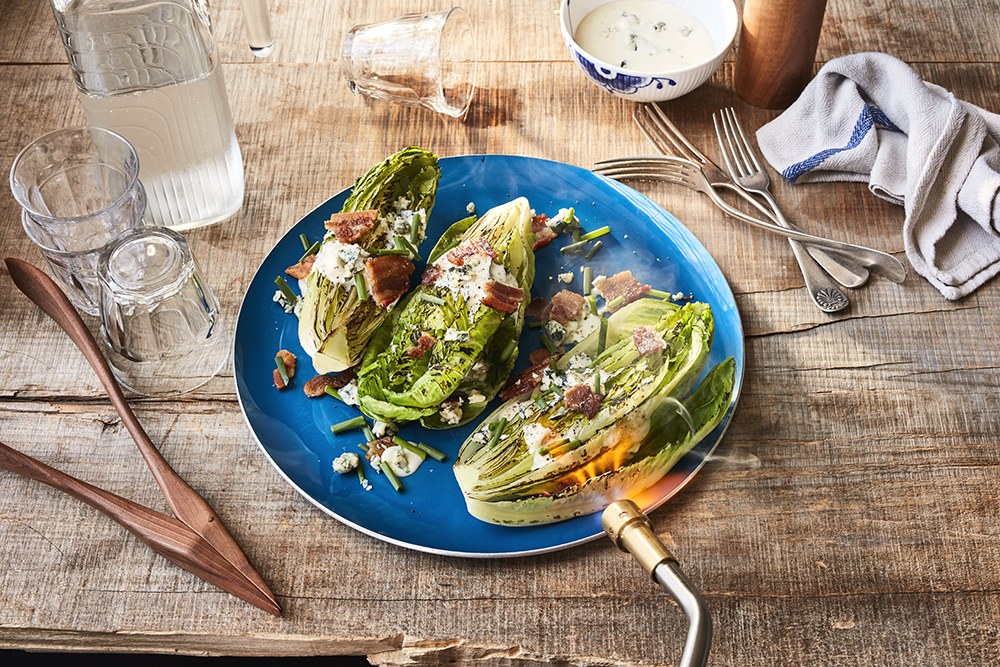 Charred Romaine With Blue Cheese & Bacon