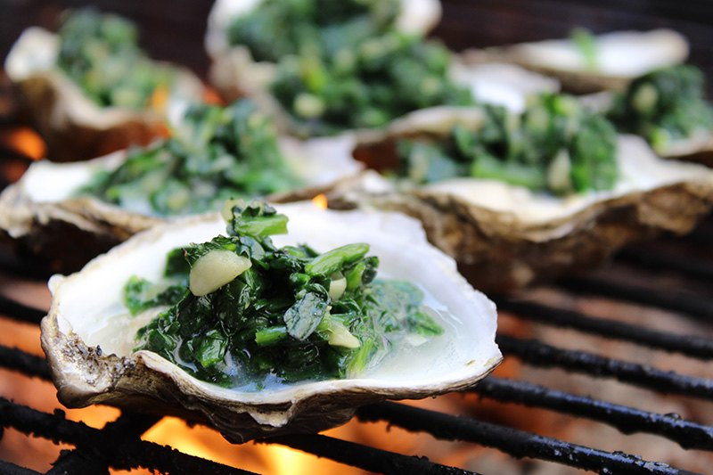 Double Flame Oysters with Spinach and Parmesan