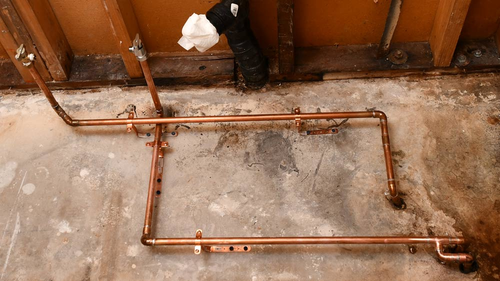 Move Copper Water Lines Over a Concrete Floor