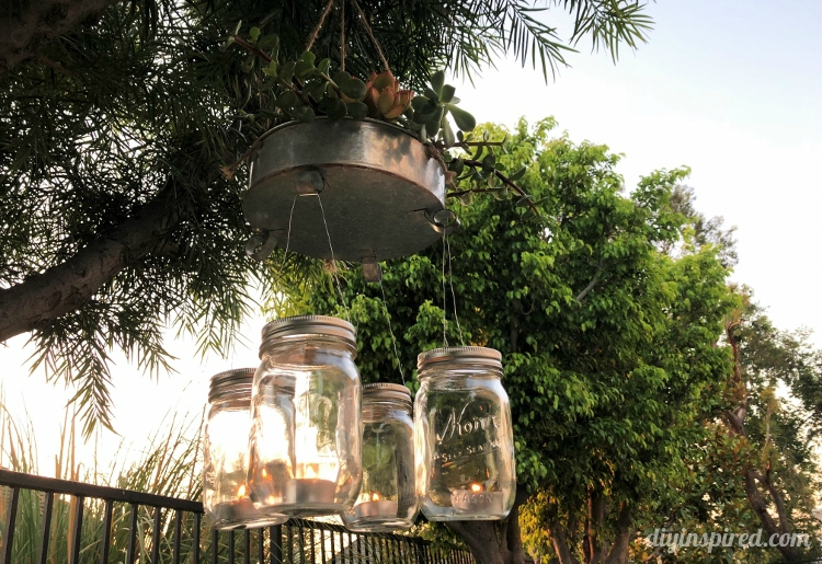 How to Make an Outdoor Mason Jar Chandelier with a Succulent Garden
