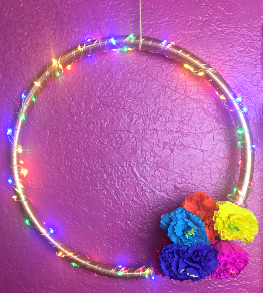 Lighted Copper Wreath