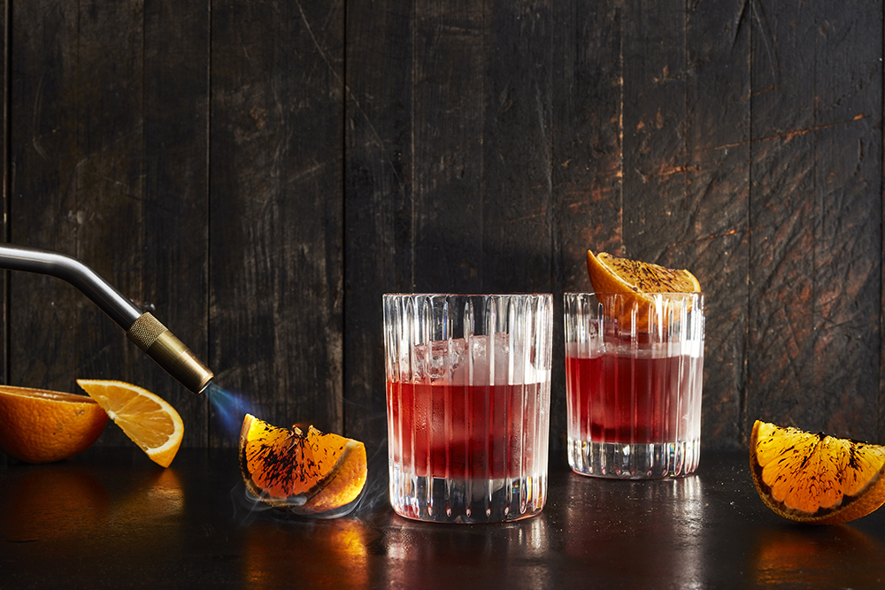Classic Negroni With Charred Orange Garnish