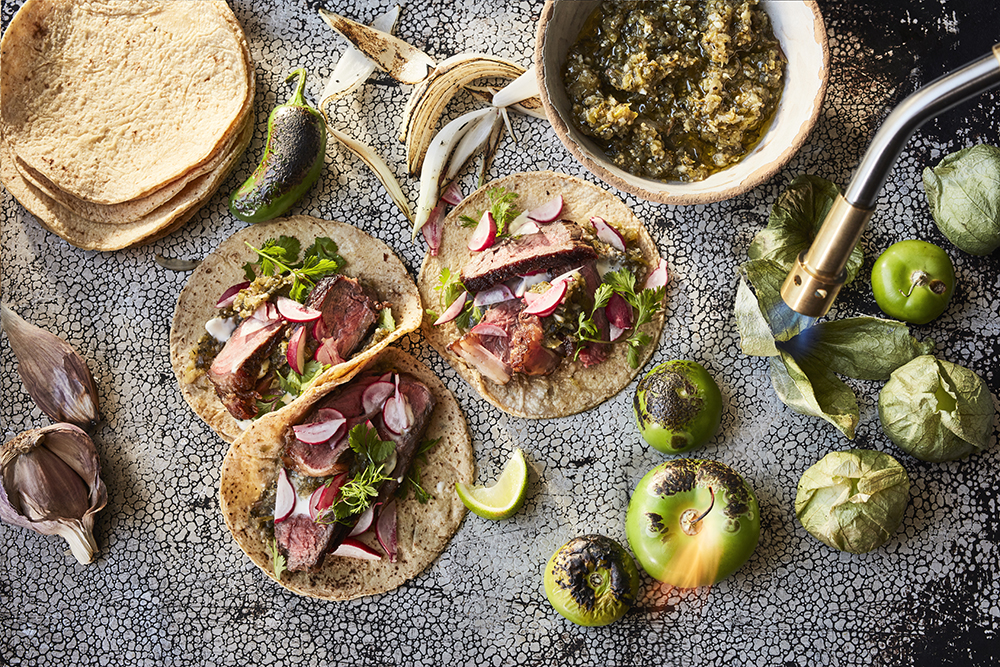 Steak Tacos With Charred Tomatillo Salsa