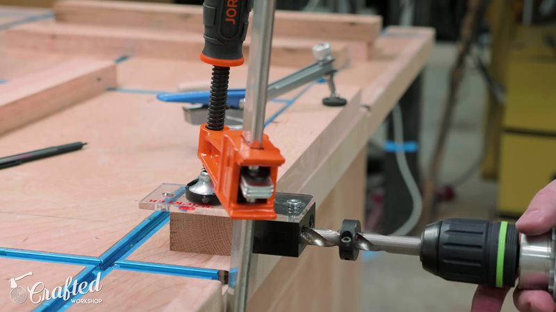 Drill with dowel-drilling jig