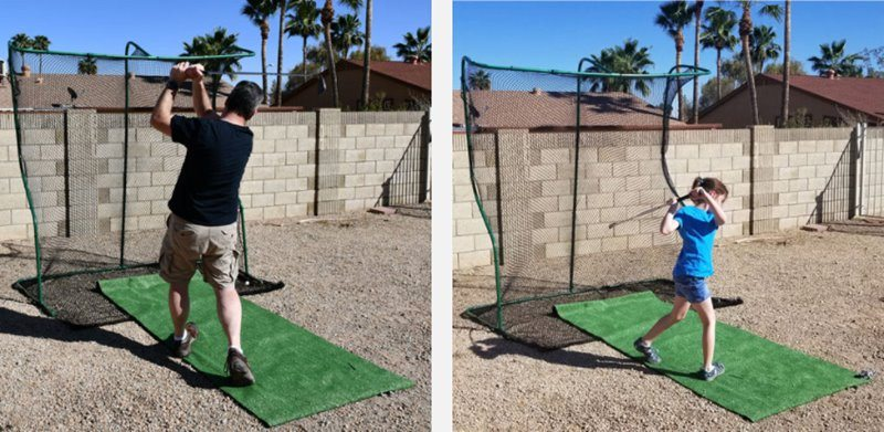 Trying out the golf net