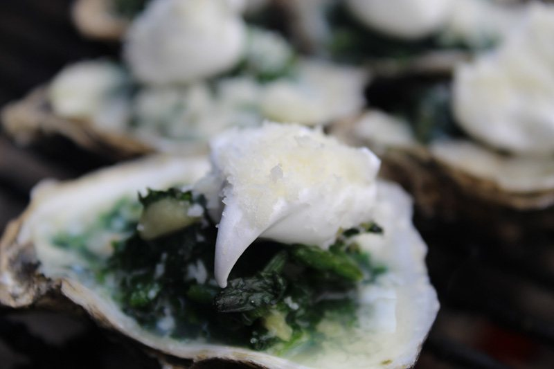 Double Flame Oysters with Spinach and Parmesan   Bernzomatic