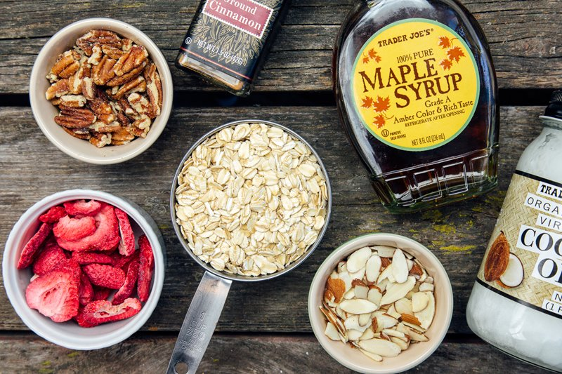 Stovetop granola ingredients
