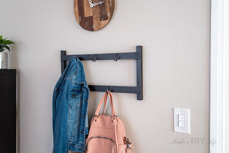 Coat rack on wall