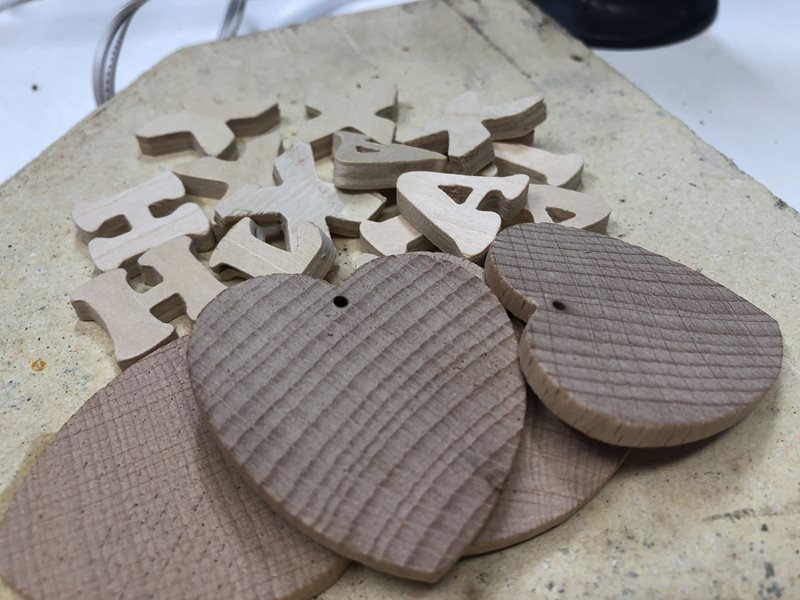 Wooden hearts and letters