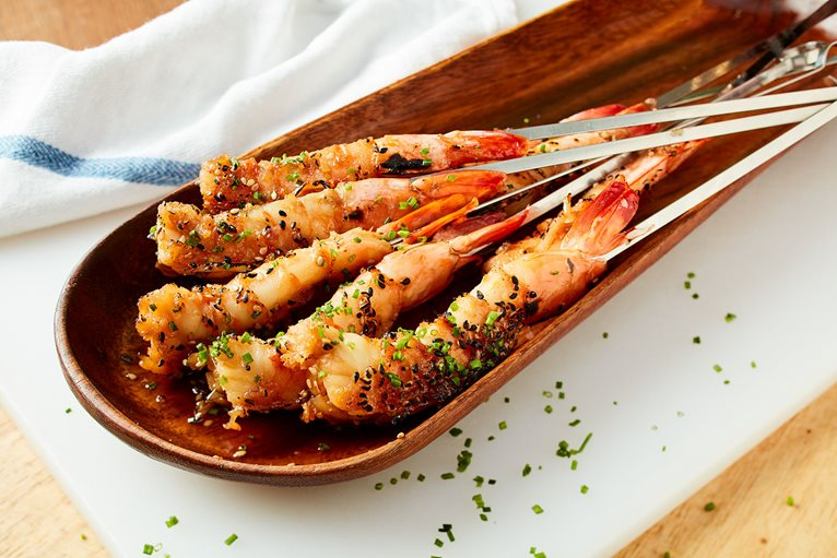 Torched Teriyaki Shrimp Skewers